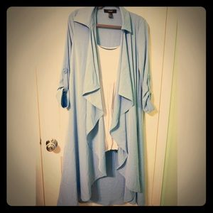 FOREVER 21 pale blue duster/lab jacket size Small